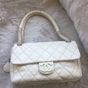 Chanel flap quilt bag white ivory CC robe strap